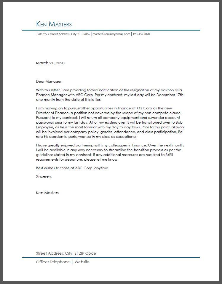 Resignation Letter Examples Resumebuilder Com